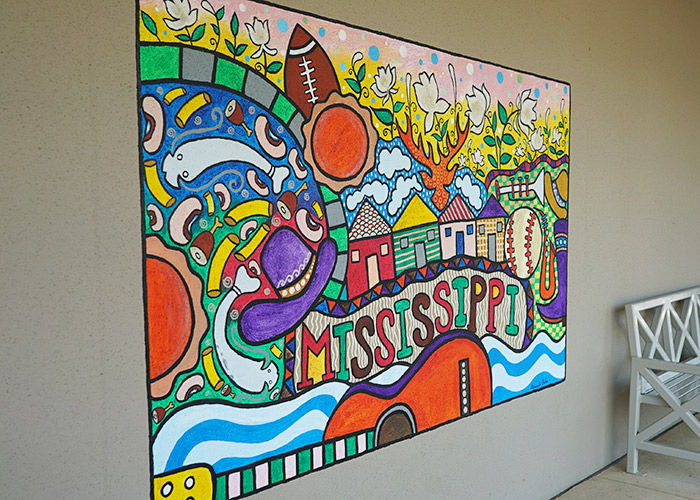 "Mural displaying the word ""Mississippi"" in Pearl, Mississippi"