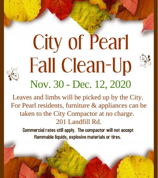 Fall Clean-Up Starts Nov. 30 through Dec. 12