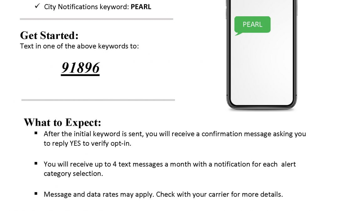 City of Pearl Launches New Text Service