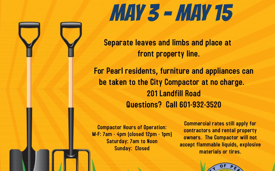 Spring Clean-Up is Coming May 3-15!